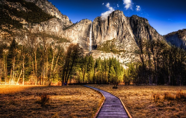 Picture forest, the sky, grass, the sun, clouds, trees, mountains, stones, rocks, waterfall, HDR, CA, USA, …