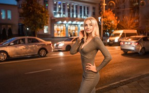Wallpaper road, machine, lights, pose, street, model, portrait, home, the evening, makeup, figure, slim, dress, hairstyle, ...
