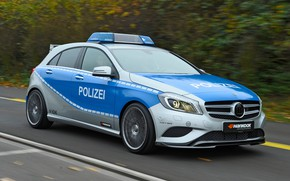 Picture road, car, machine, lights, Mercedes-Benz, speed, Brabus, flashers, hankook, A45, police car, police car, Mercedes …