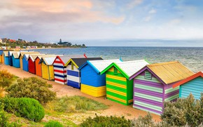 Picture sea, Australia, Melbourne, beach house, Brighton Beach