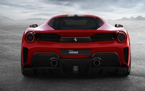 Picture red, Ferrari, spoiler, feed, 2019, V8 twin turbo, 488 Pista