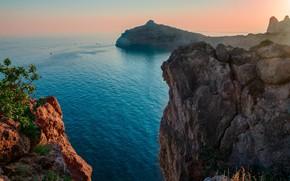 Picture sea, landscape, sunset, nature, rocks