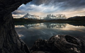 Picture mountains, lake, reflection, tree, shore, view, trunk, pond, Andes