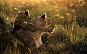 Picture Nature, Art, Lions