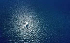 Picture sea, yacht, sails, open sea, вид с дрона, amazing view, угол с высоты птичьего полета, …