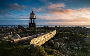 Picture sea, coast, lighthouse, horizon