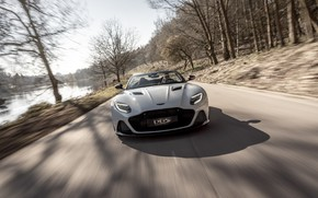 Picture machine, light, trees, Aston Martin, DBS, Superleggera, Volante