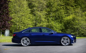 Picture Audi, profile, sedan, side view, dark blue, Audi A6, 2019, Audi S6