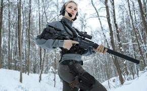"Picture Girl, Winter Forest, Stechkin Pistol, Sniper rifle Lobaeva, DVL-M1 10 ""Saboteur"""