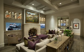 Picture table, room, sofa, interior, chair, pillow, TV, pictures, fireplace, living room