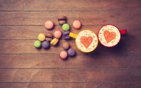Picture heart, colorful, love, heart, wood, romantic, coffee cup, macaroons, macaron, a Cup of coffee, macaroon