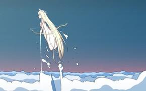 Picture sea, minimalism, angel, girl