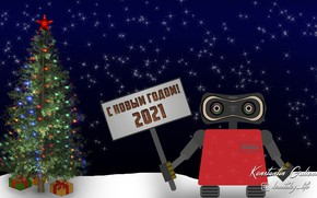 Picture holiday, robot, Happy New Year, illustration, happy new year, Wallpaper 1920x1080, новый год 2021, Vannya, …
