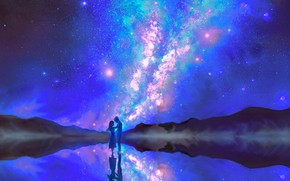 Picture the sky, water, night, lovers, the milky way