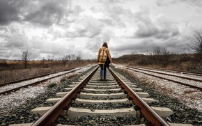 Picture the sky, girl, railroad