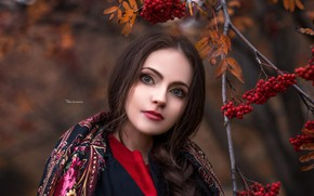 Picture autumn, look, branches, nature, background, model, portrait, makeup, berry, hairstyle, brown hair, red, shawl, Rowan, …