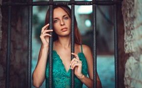 Picture look, pose, model, makeup, hairstyle, red, grille, in green, Marco Squassina, Asia N