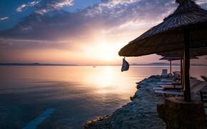 Picture beach, water, the sun, sunset, the ocean, shore, umbrella, resort