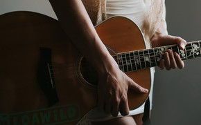 Wallpaper girl, music, guitar