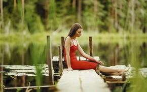 Picture look, water, girl, nature, pose, river, dress, bokeh, Janis Balcuns