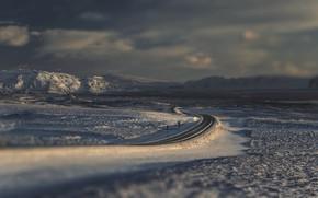 Picture winter, road, field