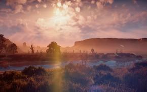 Picture landscape, sunset, river, rocks, desert, exclusive, Playstation 4, Guerrilla Games, Horizon Zero Dawn