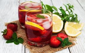 Picture ice, lemon, strawberry, glasses, lemonade, Olena Rudo