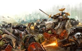 Picture Black Templars, orcs, space Marines, space marines, battle, orcs, Warhammer, Warhammer 40 000, Black Templars