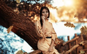 Picture autumn, look, girl, foliage, Pocahontas, Alessandro Di Cicco