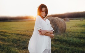 Picture field, girl, the sun, the wind, hair, stack, Maria, Alexander Drobkov-Light, Maria Larina