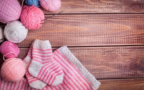 Picture tangle, spokes, balls, wooden background, knitting, socks, yarn, knitted thing