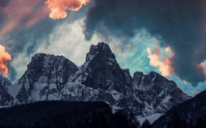 Picture winter, the sky, clouds, snow, trees, mountains, nature, rocks, Italy, Vigo di Fassa