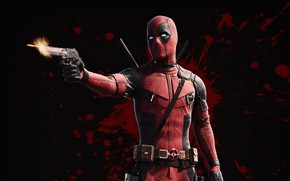 Picture gun, weapons, background, fiction, blood, shot, bullet, mask, costume, Ryan Reynolds, Ryan Reynolds, Deadpool, Deadpool, ...