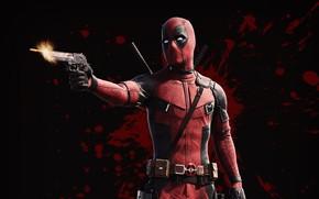 Wallpaper gun, weapons, background, fiction, blood, shot, bullet, mask, costume, Ryan Reynolds, Ryan Reynolds, Deadpool, Deadpool, ...