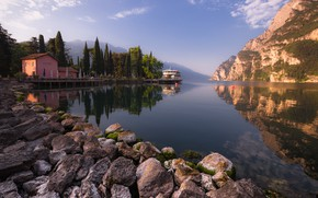 Picture trees, mountains, lake, reflection, stones, ship, Marina, Alps, Italy, Bank, Garda, Victor Zaitsev