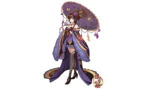 Picture girl, butterfly, flowers, umbrella, train, fan