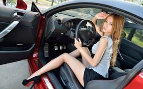 Picture look, Girls, Peugeot, Asian, beautiful girl, red car, posing in the car