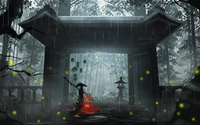 Picture nature, fireflies, rain, temple, male, the gates