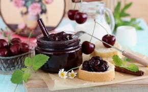 Picture cherry, Bank, mint, jam, cherry