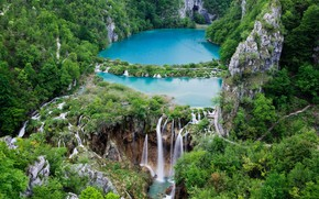 Picture forest, rocks, waterfall, Croatia, reserve, Plitvice lakes
