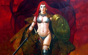 Picture girl, sword, sexy, legs, boobs, comics, belly, shield, Red Sonja, red head, sword & Girl, …