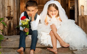 Picture children, the bride, porch, the groom, sitting