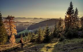 Picture autumn, the sun, rays, landscape, mountains, nature, fog, Alps, forest, tourist