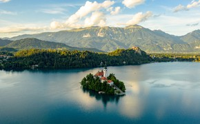 Picture forest, clouds, mountains, island, Church, haze, pond, Slovenia