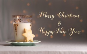 Picture glass, background, holiday, the inscription, cookies, Christmas, New year, drink, bokeh, Christmas decorations, новогодние декорации