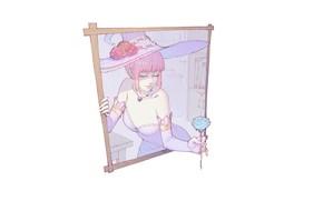 Picture girl, rose, minimalism, hat, frame