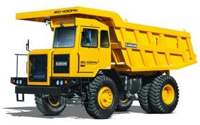 Picture machine, truck, white background, yellow