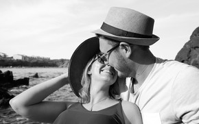Picture girl, happiness, smile, hat, pair, male, lovers