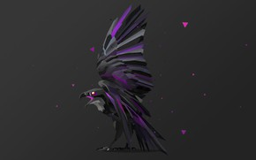 Picture bird, Raven, bird, raven, dark gray background, computer art, flap, fractal art, fractal art, компьютерный …