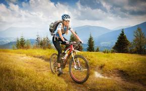 Wallpaper grass, girl, clouds, trees, landscape, mountains, bike, sport, dirt, glasses, t-shirt, gloves, helmet, braids, backpack, ...